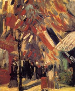 Vincent Van Gogh : Street Scene,Celebration of Bastille Day
