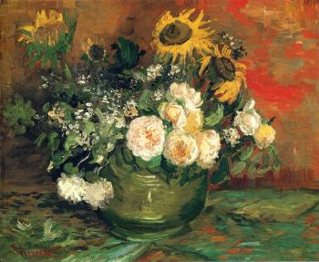 Vincent Van Gogh : Bowl with Sun Flowers,Roses and Other Flowers