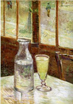 A Table in front of a Window with a Glass of Absinthe and a Carafe
