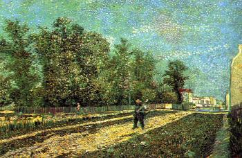 A Suburb of Paris with a Man Carrying a Spade