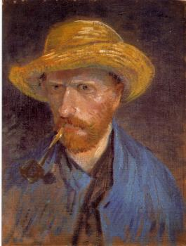 Vincent Van Gogh : Self-Portrait with Straw Hat and Pipe