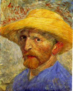Vincent Van Gogh : Self-portrait with straw hat III