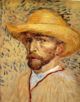 Vincent Van Gogh : Self-portrait with straw hat IV