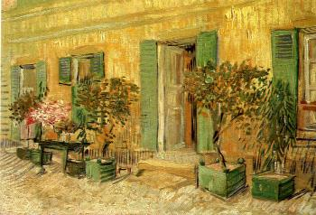 Vincent Van Gogh : Exterior of a Restaurant with Oleanders in Pots