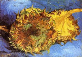 Vincent Van Gogh : Tow cut sunflowers, one upside down