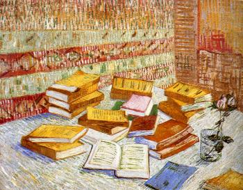 Vincent Van Gogh : Piles of French Novels and a Glass with a Rose(Romans Parisiens)