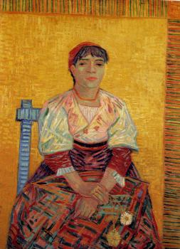 Vincent Van Gogh : Portrait of a Woman with Carnatios (Augostina Segatori)
