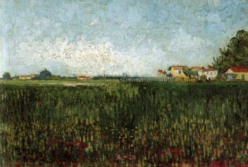 Vincent Van Gogh : Farmhouses In A Wheat Field Near Arles
