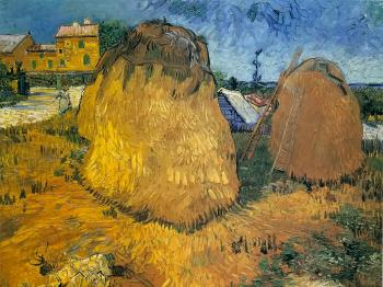 Vincent Van Gogh : Haystacks near a Farm