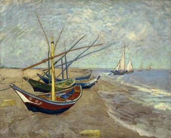 Vincent Van Gogh : Fishing boats on the beach