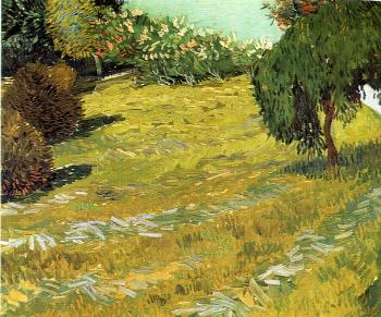 Vincent Van Gogh : Newly Mowed Lawn with Weeping Tree