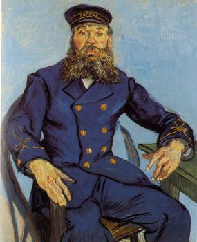 Vincent Van Gogh : Joseph Roulin, sitting in a cane chair