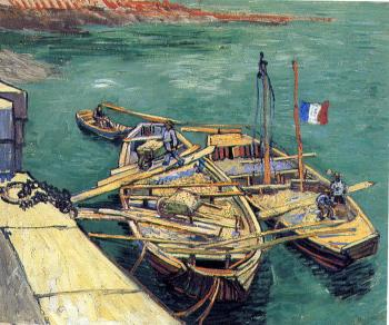 Vincent Van Gogh : Quay with men unloading sand barges