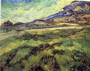 Vincent Van Gogh : Mountain landscape seen across the walls, green field