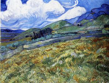 Vincent Van Gogh : Mountain landscape seen across the walls