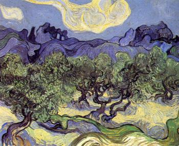 Vincent Van Gogh : Olive Trees in a Mountain Landscape