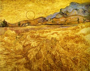 Enclosed Wheat Field with Reaper