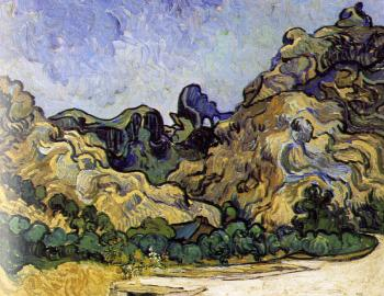 Vincent Van Gogh : Mountains with Dark Hut