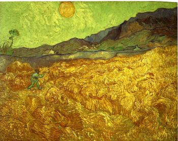 Vincent Van Gogh : Wheat Fields with Reaper at Sunrise