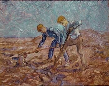 Vincent Van Gogh : Two Diggers(after Millet)