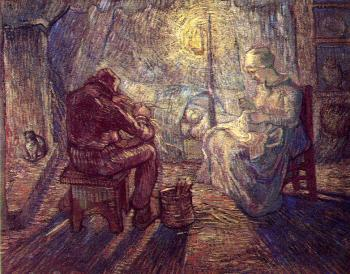 Vincent Van Gogh : The Family at Night(after Millet)