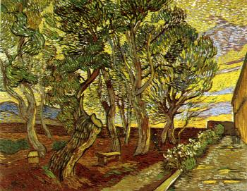 Vincent Van Gogh : Corner of the Asylum and the Garden with a Heavy,Sawn-off Tree