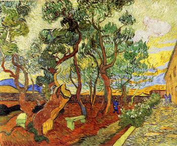 Vincent Van Gogh : Corner of the Asylum and the Garden with a Heavy,Sawn-Off Tree II