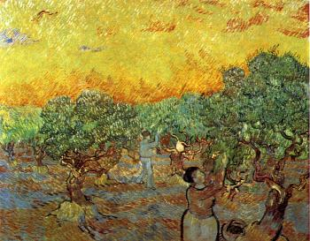 Vincent Van Gogh : Olive Orchard with a Man and a Woman Picking Olives