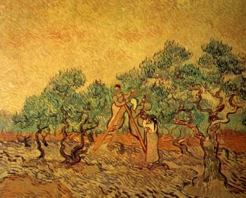 Vincent Van Gogh : Women Picking Olives