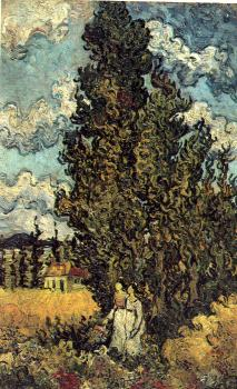 Vincent Van Gogh : Cypresses with Two Women