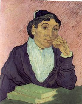 Vincent Van Gogh : The Arlesienne(Madame Ginoux), with Pink Background