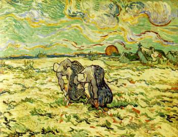 Vincent Van Gogh : Two Peasant Women Digging in a Snow-Covered Field at Sunset