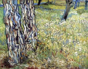 Vincent Van Gogh : Field of Grass with Dandelions and Tree Trunks