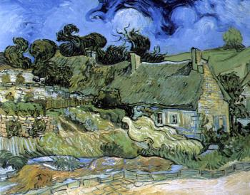 Vincent Van Gogh : Cottages with Thatched Roofs
