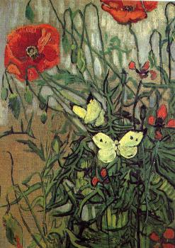 Vincent Van Gogh : Poppies with Butterflies