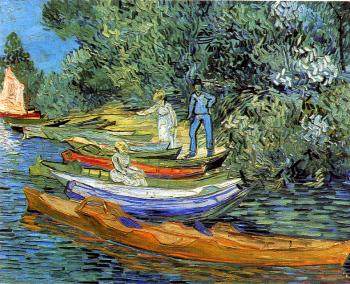Riverbank with Rowboats and Three Figures