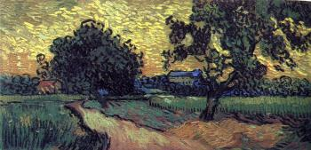 Field with Trees and the Chateau of Auvers at Sunset