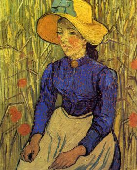 Girl with Straw Hat,Sitting in the Wheat