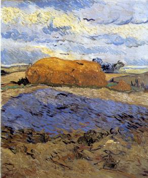 Field with a Stack of Wheat or Hay