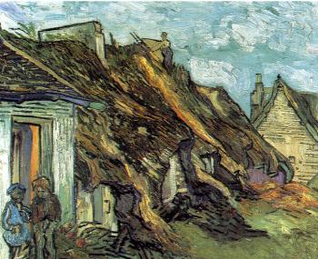 Cottages with thatched roofs and figures