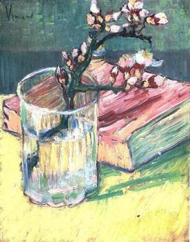 Vincent Van Gogh : Blossoming Almond Branch in a Glass with a Book