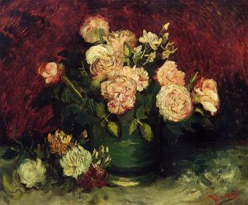 Vincent Van Gogh : Bowl with Peonies and Roses