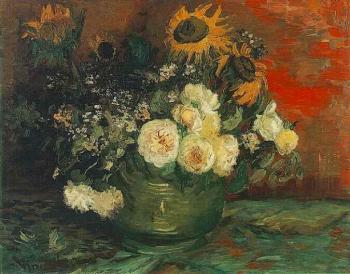 Vincent Van Gogh : Bowl with Sunflowers, Roses and Other Flowers