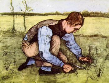 Vincent Van Gogh : Boy Cutting Grass with a Sickle