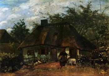 Vincent Van Gogh : Cottage and Woman with Goat