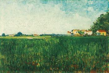 Vincent Van Gogh : Farmhouses in a Wheat Field Near Arles II