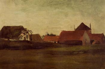 Vincent Van Gogh : Farmhouses in Loosduinen near the Hague at Twilight