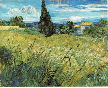 Vincent Van Gogh : Green Wheat Field with Cypress II