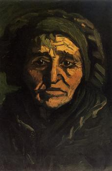 Vincent Van Gogh : Head of a Peasant Woman with Greenish Lace Cap