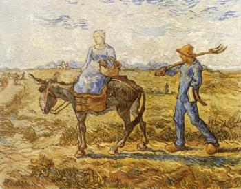 Vincent Van Gogh : Morning, Peasant Couple Going to Work